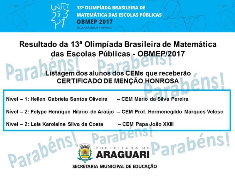 Centros Educacionais Municipais são destaques em Olimpíada Brasileira de Matemática